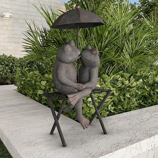 Pure Garden Frog Couple Resin Statue
