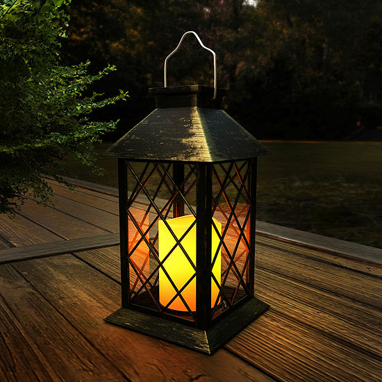 Pure Garden Solar Powered Lantern with LED Pillar Candle