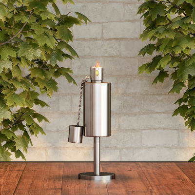"""Pure Garden 10.5"""" Stainless Steel Tabletop Torch Lamp"""