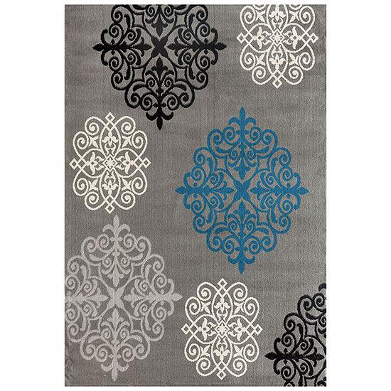 World Rug Gallery Modern Geometric Damask Design Rectangular Rug
