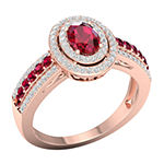 Womens 1/2 CT. T.W. Lead Glass-Filled Red Ruby 10K Gold Engagement Ring