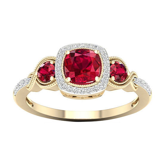 Womens 1/10 CT. T.W. Lead Glass-Filled Red Ruby 10K Gold Engagement Ring