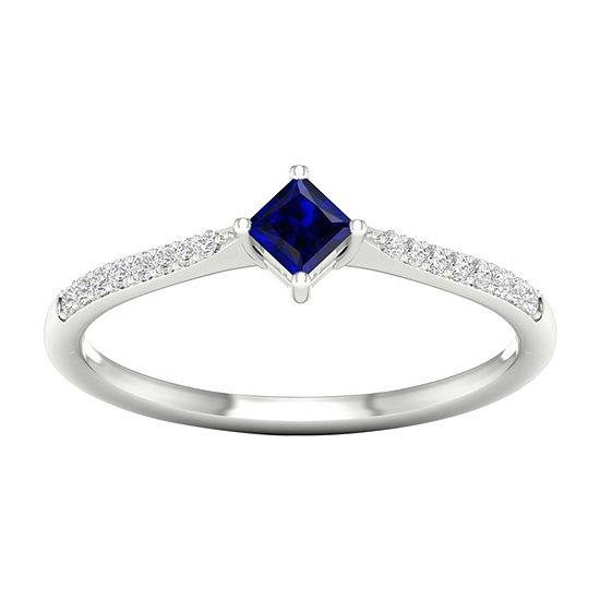 Womens Diamond Accent Genuine Blue Sapphire 10K Gold Cocktail Ring