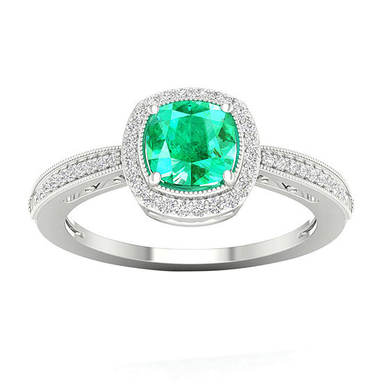 Womens 1/6 CT. T.W. Genuine Green Emerald 10K Gold Cocktail Ring