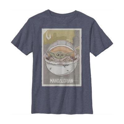 Mandalorian The Child Little & Big Boys Crew Neck Star Wars Short Sleeve Graphic T-Shirt