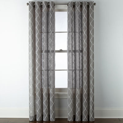 JCPenney Home Bayview Embroidered Sheer Grommet-Top Single Curtain Panel