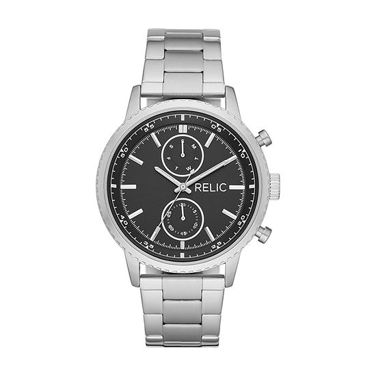 Relic By Fossil Zachary Mens Multi-Function Silver Tone Stainless Steel Bracelet Watch-Zr12607
