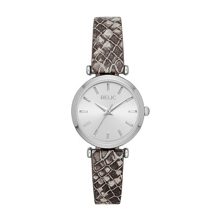 Relic By Fossil Brianna Womens Gray Leather Strap Watch-Zr34580, One Size