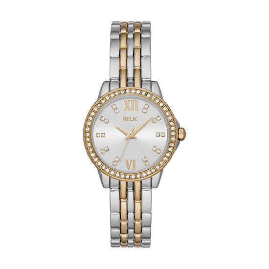 Relic By Fossil Sydney Womens Crystal Accent Two Tone Bracelet Watch-Zr34584