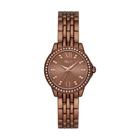 Relic By Fossil Sydney Womens Crystal Accent Brown Bracelet Watch - Zr34585, One Size