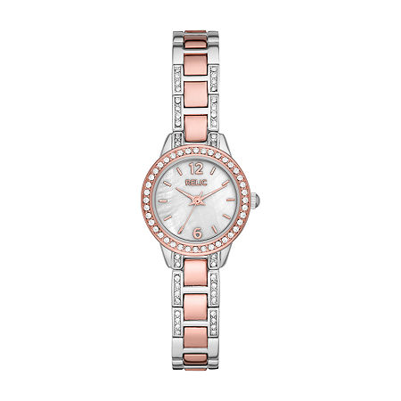 Relic By Fossil Tenley Womens Crystal Accent Two Tone Bracelet Watch - Zr34588, One Size , No Color Family