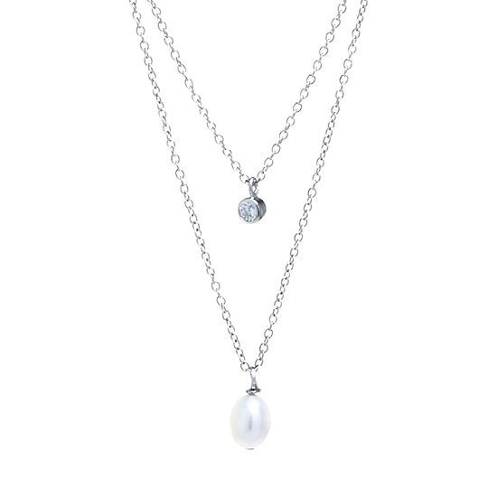 Silver Treasures Cubic Zirconia Cultured Freshwater Pearl Sterling Silver 16 Inch Cable Pendant Necklace