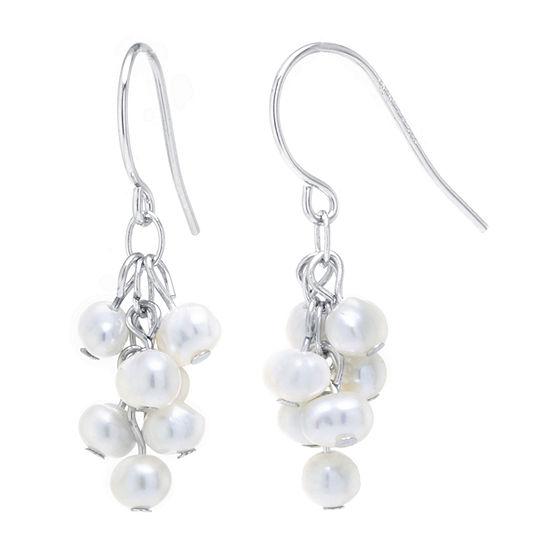 Silver Treasures Cultured Freshwater Pearl Sterling Silver Drop Earrings