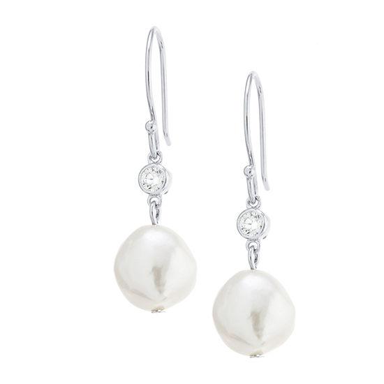 Silver Treasures Cubic Zirconia Cultured Freshwater Pearl Sterling Silver Drop Earrings