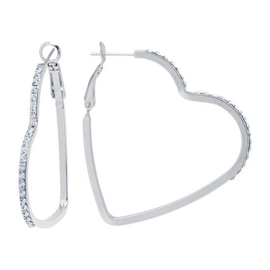 Sparkle Allure Crystal Pure Silver Over Brass Heart Hoop Earrings