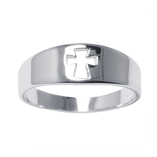 Silver Treasures Sterling Silver Cross Band Ring