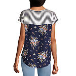 Rewind-Juniors Womens Crew Neck Short Sleeve Blouse