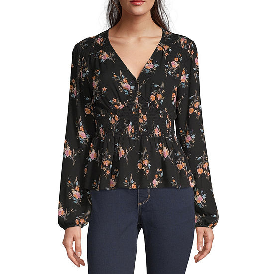 Rewind-Juniors Womens V Neck Long Sleeve Blouse
