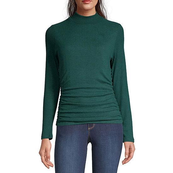 Byer California-Juniors Womens Mock Neck Long Sleeve Pullover Sweater