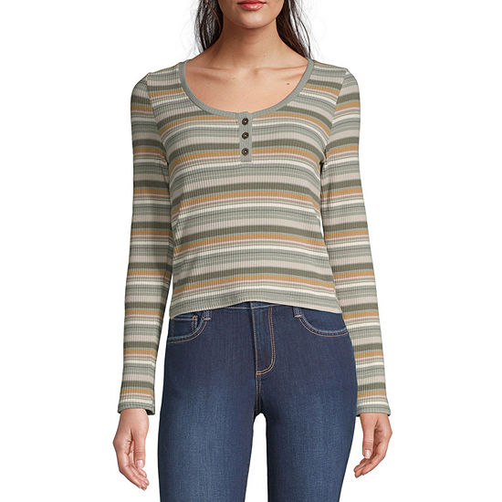 Arizona Womens Henley Neck Long Sleeve Henley Shirt -Juniors