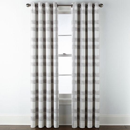 JCPenney Home Sullivan Plaid Blackout Grommet-Top Single Curtain Panel