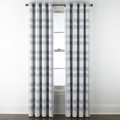 JCPenney Home Sullivan Plaid Blackout Grommet-Top Single Curtain Panel