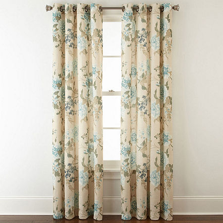 JCPenney Home Farrah Light-Filtering Grommet-Top Single Curtain Panel, One Size , Blue
