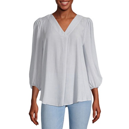 a.n.a Womens V Neck Long Sleeve Tunic Top, X-small , Blue