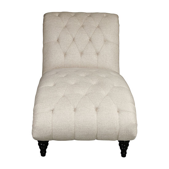 Traditional Rolled Back Chaise Lounger With Diamond Shaped Tufting
