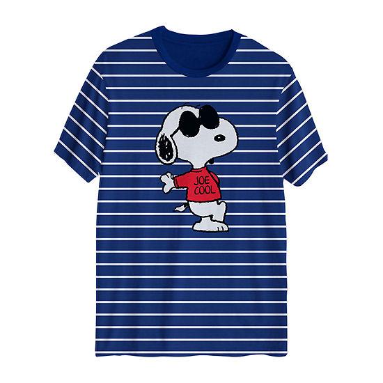 Mens Crew Neck Short Sleeve Peanuts Graphic T-Shirt