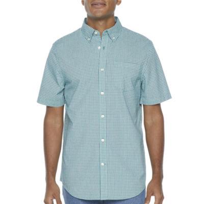 St. John's Bay Micro Check Mens Short Sleeve Button-Down Shirt