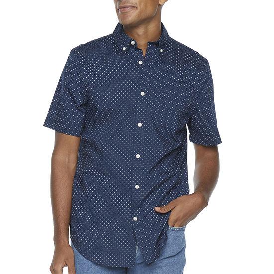 St. John's Bay Micro Dot Stretch Mens Short Sleeve Dots Button-Down Shirt