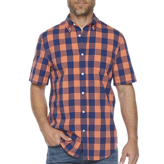 St. John's Bay Buffalo Plaid Mens Short Sleeve Button-Down Shirt