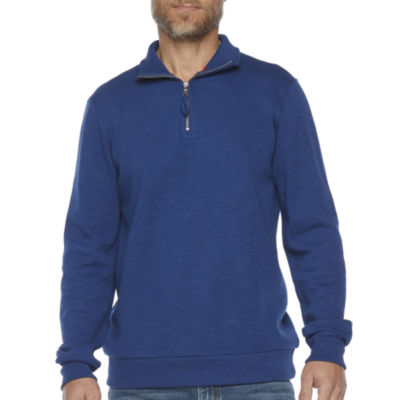 St. John's Bay Mens Split Crew Neck Long Sleeve Quarter-Zip Pullover