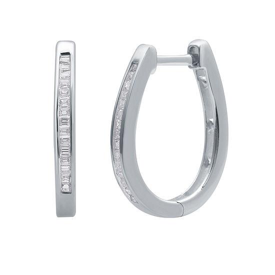 1/4 CT. T.W. Diamond Sterling Silver 19mm Hoop Earrings