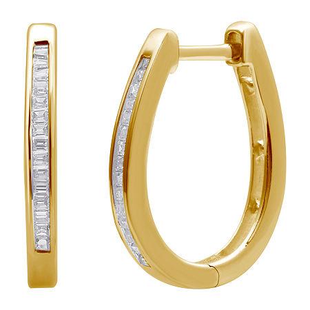 1/4 CT. T.W. Diamond 14K Gold Over Silver 19mm Hoop Earrings, One Size