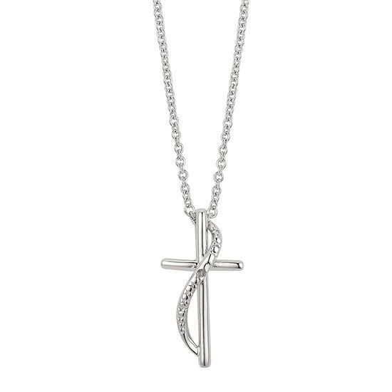 Sparkle Allure Diamond Accent 16 Inch Link Cross Pendant Necklace