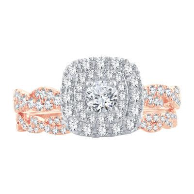 Womens 1 CT. T.W. Genuine White Diamond 10K Rose Gold Bridal Set