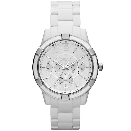 Relic By Fossil Payton Womens Multi-Function White Bracelet Watch-Zr15699