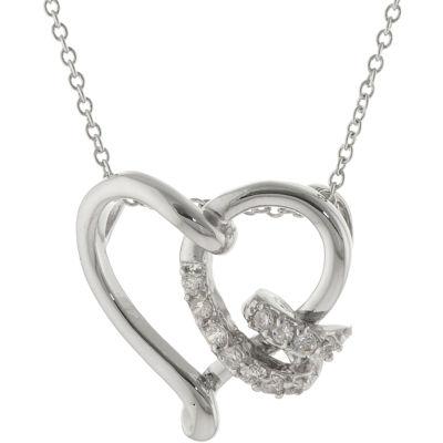 Silver-Plated Cubic Zirconia Swirl Heart Pendant