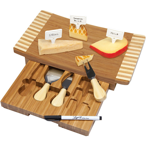 Picnic Time Concavo Bamboo Cheeseboard with Tools