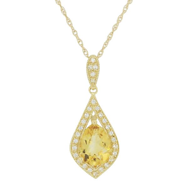 14K Gold Over Silver Genuine Citrine & Lab-Created White Sapphire Pendant Necklace
