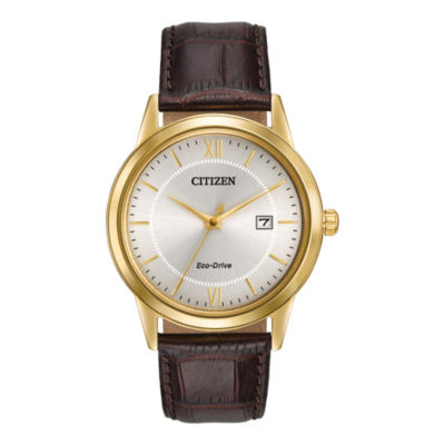Citizen® Eco-Drive® Mens Brown Leather Strap Watch AW1232-04A