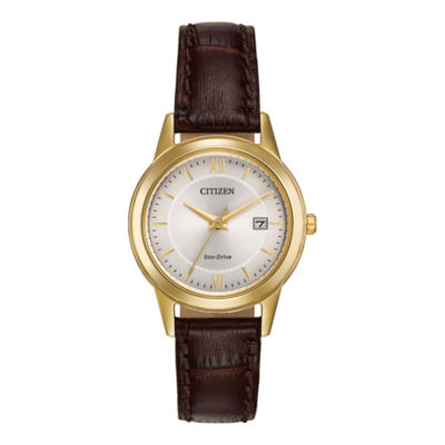 Citizen® Eco-Drive® Womens Brown Leather Strap Watch FE1082-05A