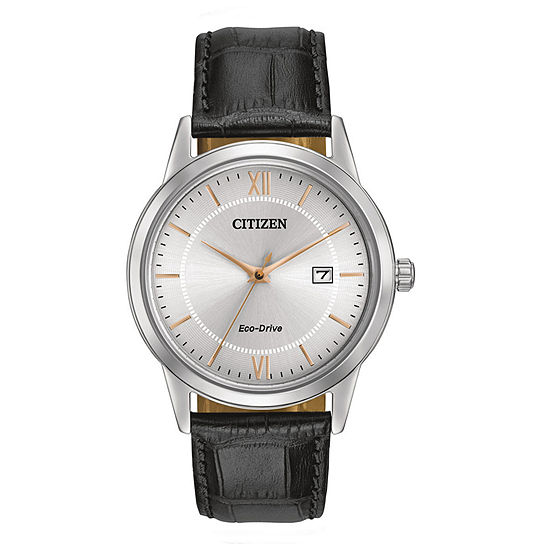 Citizen Corso Mens Black Leather Strap Watch-Aw1236-03a