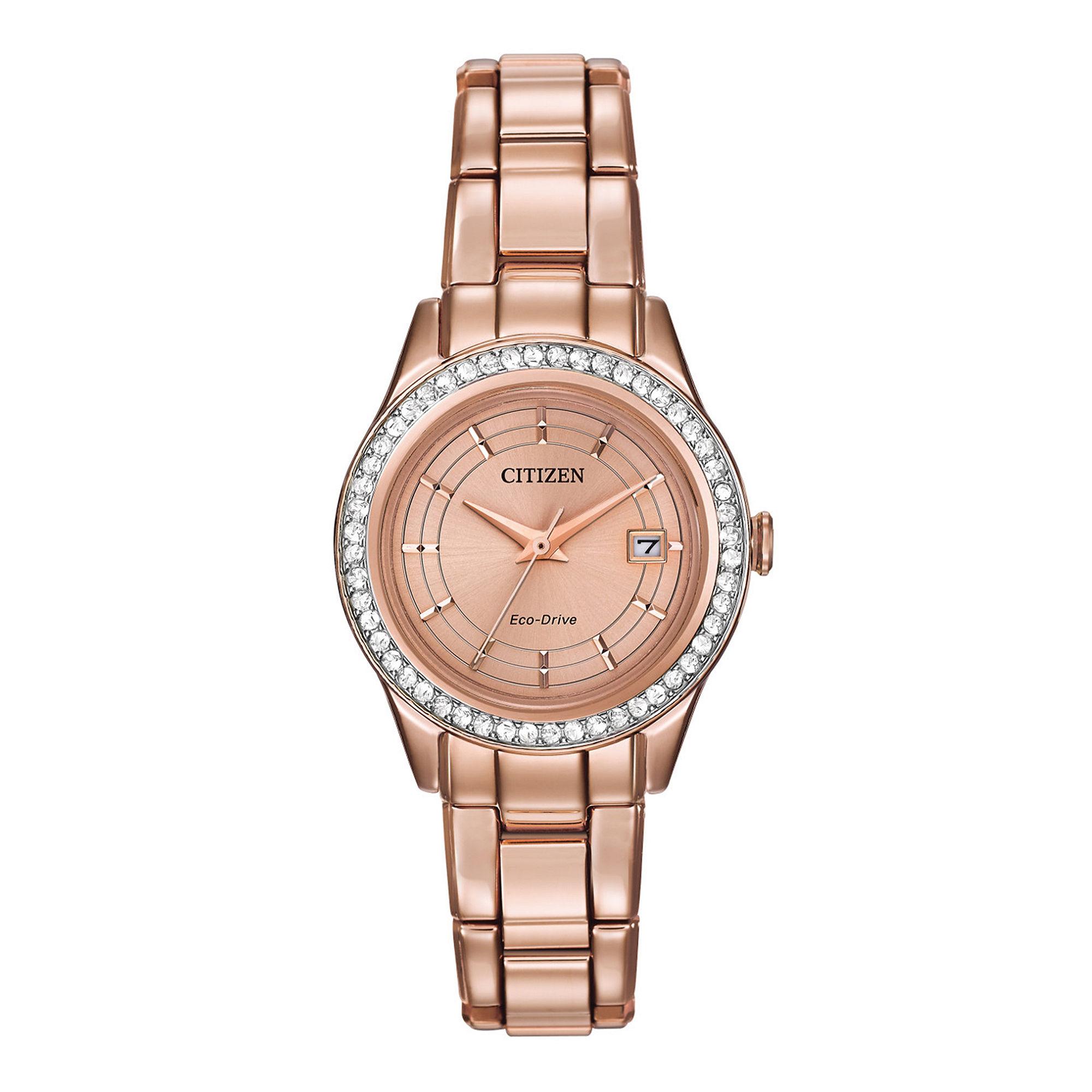 Citizen Eco-Drive Silhouette Womens Crystal-Accent Bracelet Watch FE1123-51Q