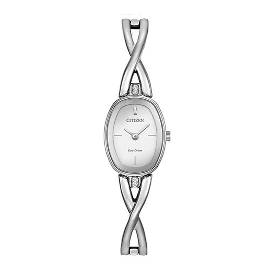 Citizen® Eco-Drive Silhouette Womens Crystal-Accent Oval Stainless Steel Bangle Watch EX1410-53A