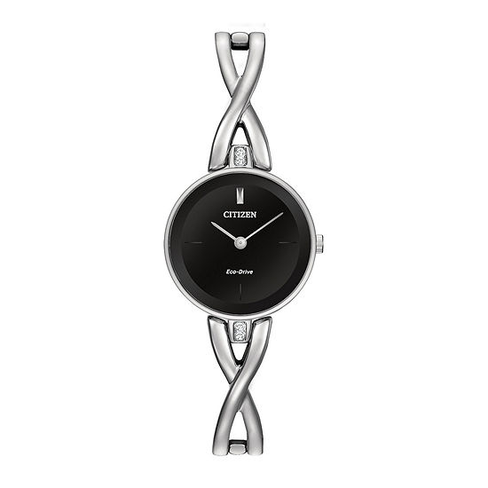 Citizen Axiom Womens Silver Tone Stainless Steel Bangle Watch-Ex1420-50e