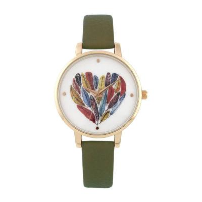 Decree Womens Green Strap Watch-Pt5458gdol