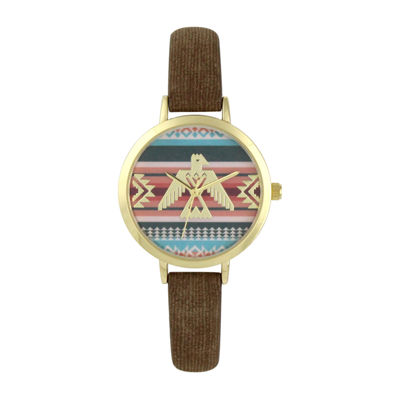 Decree Womens Brown Strap Watch-Pt5289gdbr